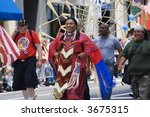 native americans march on pride parade in New York - stock photo