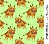 cartoon bull on a green... | Shutterstock .eps vector #367532969