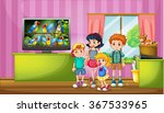 children watching tv in the... | Shutterstock .eps vector #367533965