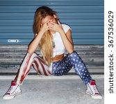 pretty young blonde girl night...   Shutterstock . vector #367536029