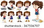 little girl doing different... | Shutterstock .eps vector #367536707