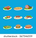 set of tasty food dishes meals... | Shutterstock .eps vector #367546559