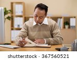 asian businessman checking his... | Shutterstock . vector #367560521