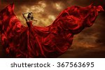 Woman Red Dress Flying Silk...
