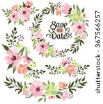 Stock vector spring flower wreath vector set 367566257