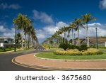 A luxurious residential street lined with palm trees. - stock photo