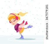 cute cartoon girl skating on... | Shutterstock .eps vector #367579181