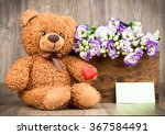 bunch of flowers and a teddy... | Shutterstock . vector #367584491