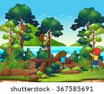 children climbing up the tree... | Shutterstock .eps vector #367585691