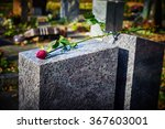 Gravestone With Withered Rose ...