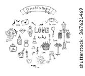 hand drawn doodle love and... | Shutterstock .eps vector #367621469