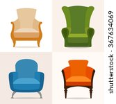 a set of four chairs in the... | Shutterstock .eps vector #367634069