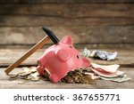 broken piggy bank with cash and ... | Shutterstock . vector #367655771