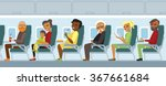 various airplane passengers on... | Shutterstock .eps vector #367661684