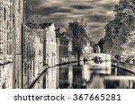 Bruges  Belgium. Night View Of...