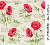 Pattern Of Poppy Flowers On A...
