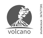 icon with volcano silhouette.... | Shutterstock .eps vector #367677281