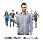 man holding a shopping cart | Shutterstock . vector #367678337