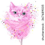 Stock photo funny cat t shirt graphics watercolor illustration cute kitten for fashion print poster for 367689035
