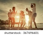 friends funny dance on the... | Shutterstock . vector #367696601