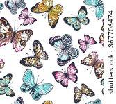 seamless artistic hand drawn... | Shutterstock . vector #367706474