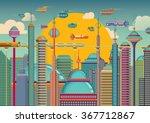futuristic city in color.... | Shutterstock .eps vector #367712867