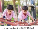 two little asian boy climbing... | Shutterstock . vector #367713761
