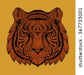 patterned tiger head orange... | Shutterstock . vector #367735001