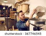 entrepreneur pouring raw coffee ... | Shutterstock . vector #367746545