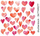 set 2 of watercolor hearts for... | Shutterstock . vector #367749077