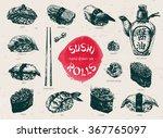 hand drawn sushi set. japanese... | Shutterstock .eps vector #367765097