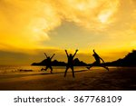 silhouette of friends jumping... | Shutterstock . vector #367768109