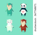 set of cute cartoon bears ... | Shutterstock .eps vector #367768871