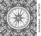 graphic wind rose compass drawn ... | Shutterstock .eps vector #367771619