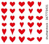 Set Of Thirty Red Heart...