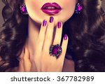 beautiful girl showing purple... | Shutterstock . vector #367782989