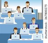 men and women working in a call ... | Shutterstock . vector #367800275