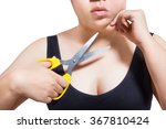 Small photo of woman cut chin fat obesity surgery concept isolated on white