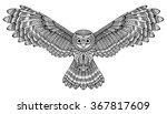 vector hand drawn flying owl.... | Shutterstock .eps vector #367817609