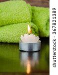 green towel and candle still...   Shutterstock . vector #367821389