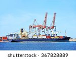 container stack and ship under... | Shutterstock . vector #367828889