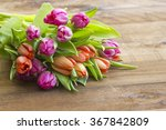 Colourful Tulips On Wooden...