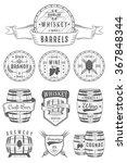 set of wooden casks with... | Shutterstock .eps vector #367848344