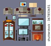 living room interior with... | Shutterstock .eps vector #367853651