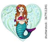 redhead cute cartoon mermaid... | Shutterstock .eps vector #367911341