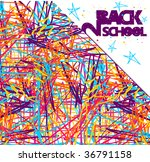 Back to school grunge background. Colorful texture of intersecting lines and blue stars on white - stock photo