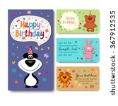 birthday card with owls | Shutterstock .eps vector #367912535