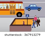 schoolchildren go to the... | Shutterstock .eps vector #367913279