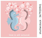 vector seahorse with red hearts.... | Shutterstock .eps vector #367920941