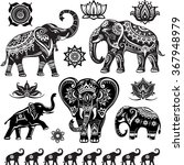 set of decorated elephants  | Shutterstock .eps vector #367948979
